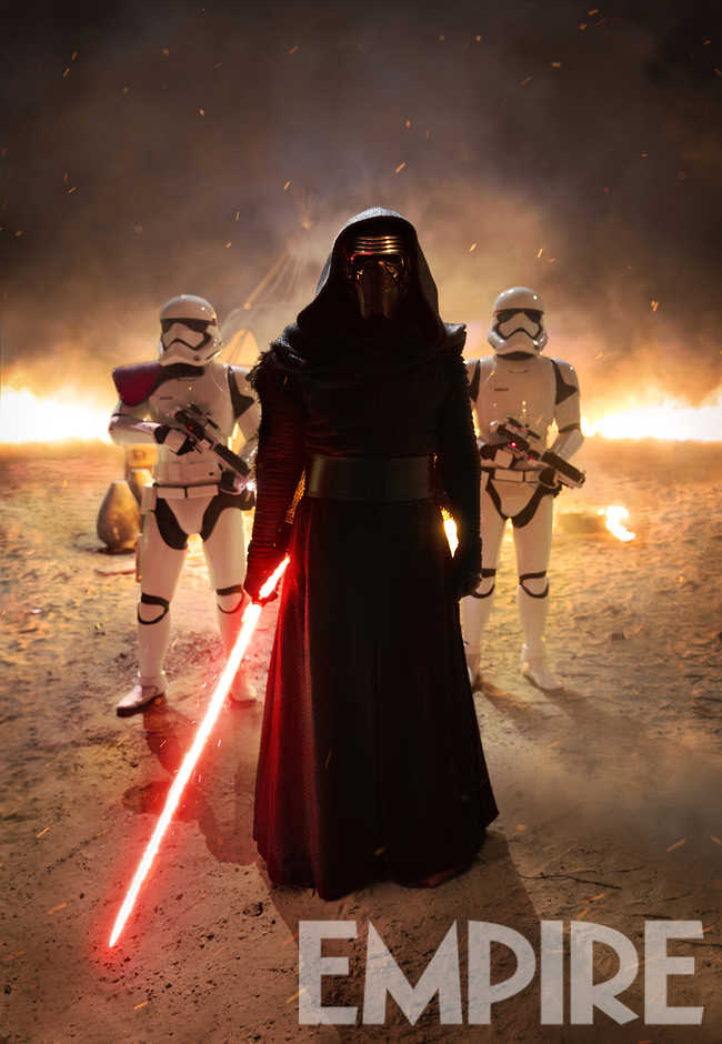 Kylo Ren (Adam Driver) and First Order Troopers Ph: David James © 2015 Lucasfilm Ltd. & TM. All Right Reserved..