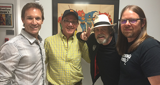 Executive Producer/Creator team of PCQ pictured inside the DC Comics archive room. From left to right: Darren Moorman, Howard Kazanjian, Mark Hamill, and Scott Kinney